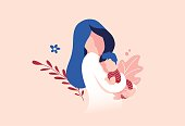 Vector Illustration Of Mother Holding Baby Son In Arms. Floral Background.