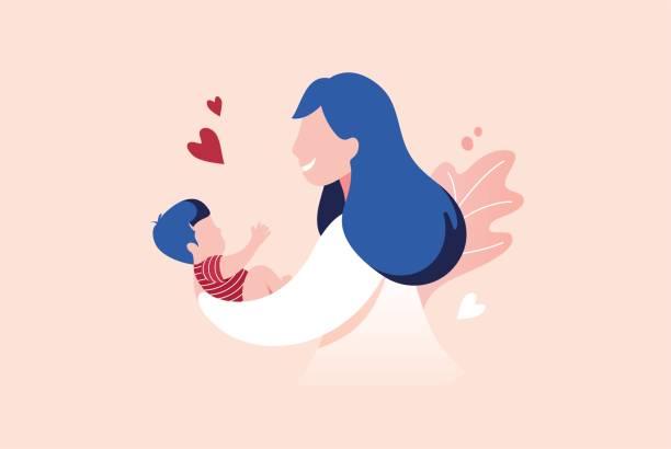 赤ん坊の息子を抱いている母。 - 母親点のイラスト素材/クリップアート素材/マンガ素材/アイコン素材