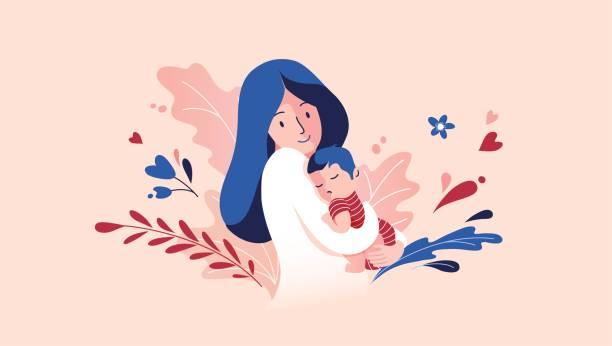 ilustraciones, imágenes clip art, dibujos animados e iconos de stock de madre sosteniendo bebé hijo en brazos. - hijo