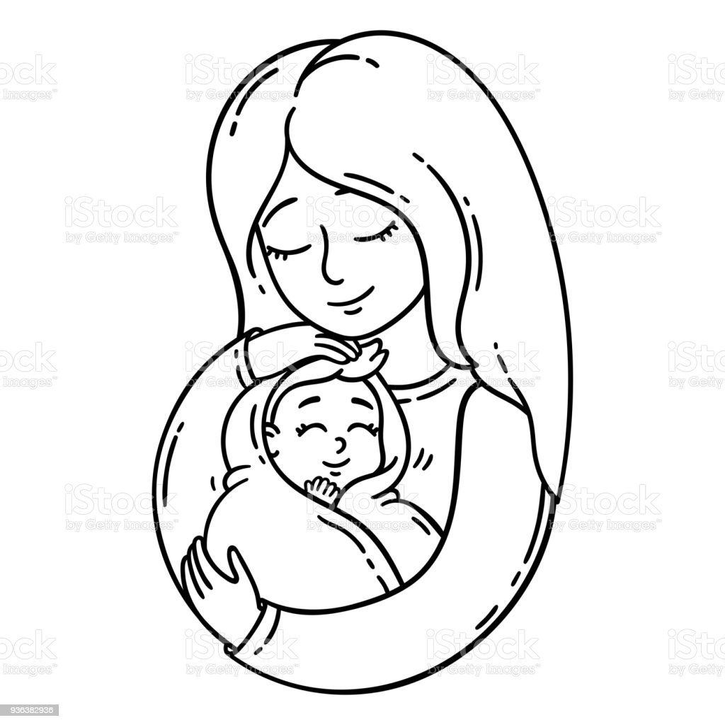 people of a mom coloring pages | Mother Holding Baby Stock Vector Art & More Images of ...