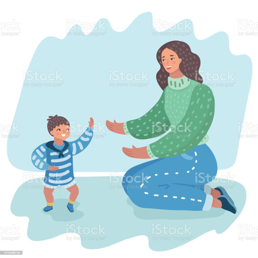 mother holding her hands supporting baby boy vector art illustration