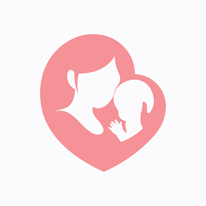 Mother holding her little baby in heart shaped silhouette clipart