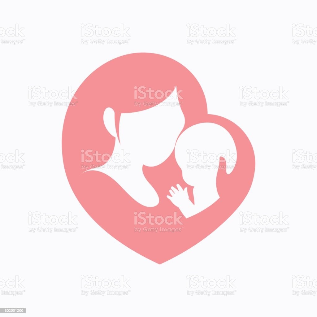 Mother holding her little baby in heart shaped silhouette vector art illustration