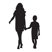 Mother holding her son by hand and going forward, isolated vector silhouette