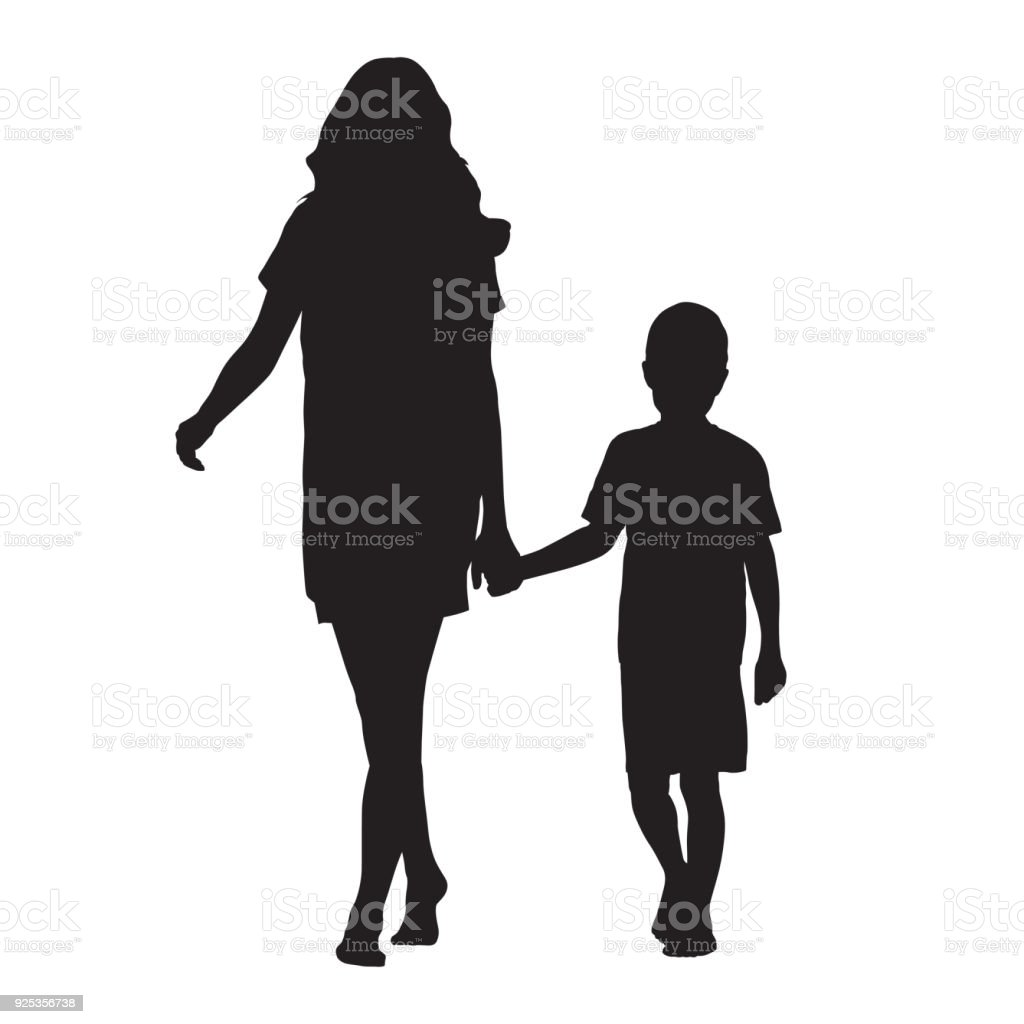 Mother holding her son by hand and going forward, isolated vector silhouette vector art illustration