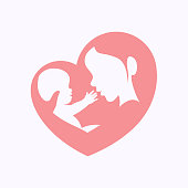 Mother holding little baby sitting in her arm in heart shaped silhouette, logo, icon design for happy mother's day celebration