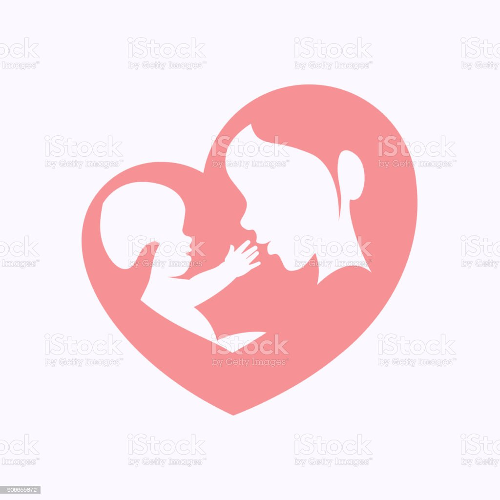 Mother holding little baby in heart shaped silhouette vector art illustration