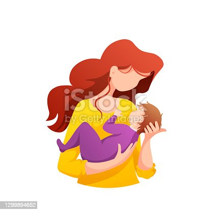 Mother holding newborn baby in her arms. Motherhood, Parenthood, Childhood, Mother's Day, Happy family concept.