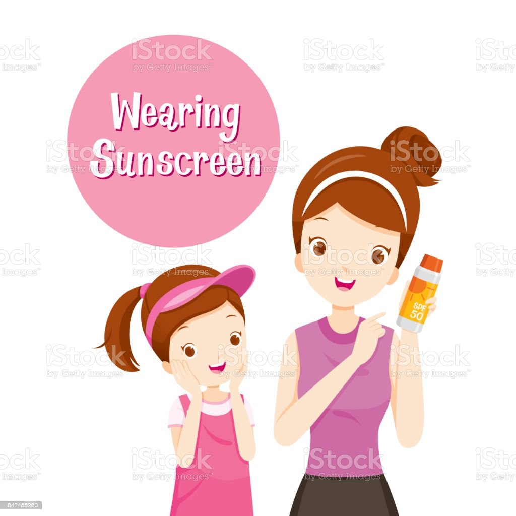 Mother Holding Sunscreen Packaging And Daughter Happy With It vector art illustration