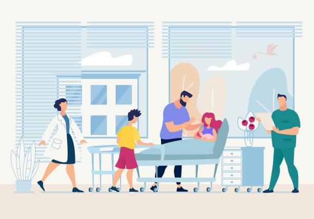 bildbanksillustrationer, clip art samt tecknat material och ikoner med mor innehar nyfödda i hennes armar cartoon flat. - sjukhusavdelning