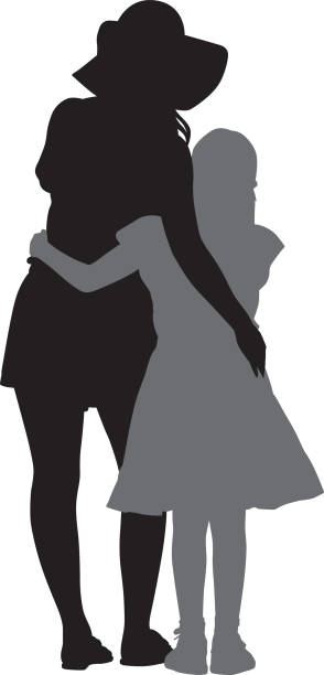 Mother Hugging Daughter Silhouette Vector silhouette of a mother and daughter with their arms around each other. daughter stock illustrations