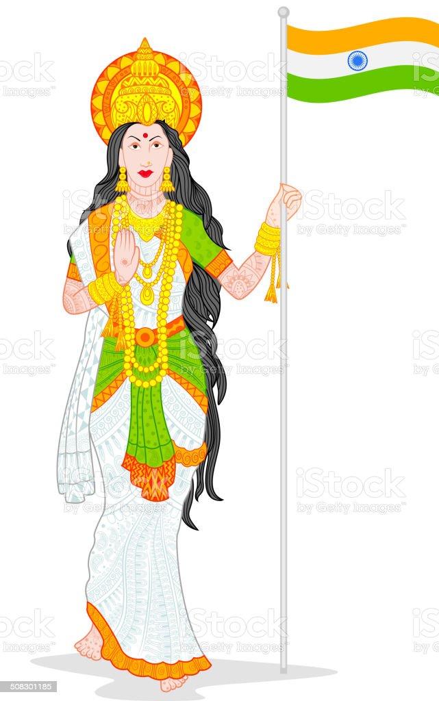 Mother India vector art illustration