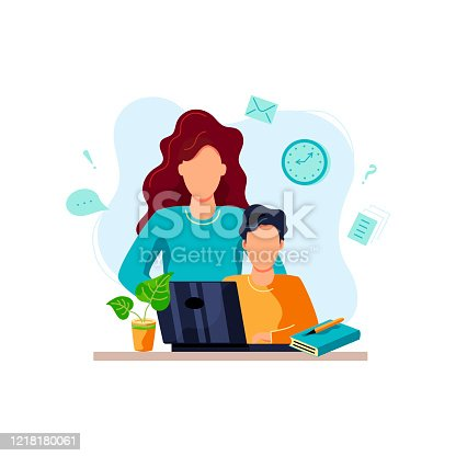 istock Mother is helping student to do homework. 1218180061