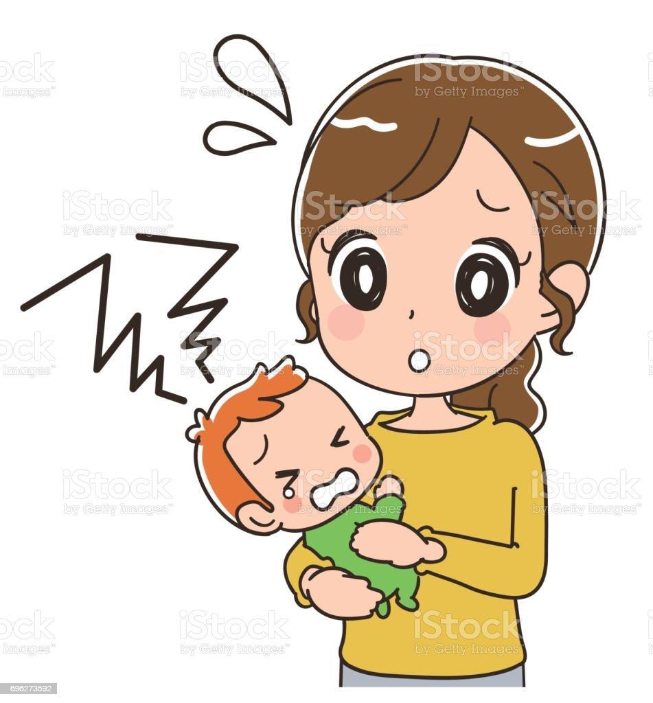 母親は泣いている赤ん坊を保持しています のイラスト素材 696273592 | istock