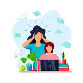 Home learning, home schooling concept. Mother is tired to help student doing homework. Vector illustration isolated on white background. Flat cartoon style design.