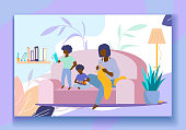 Happy African Family Home Spare Time. Dark Skinned Mother Knitting Clothing, Little Sons Playing with Toy Car and Reading Book. Leisure, Evening or Weekend Relaxing. Cartoon Flat Vector Illustration