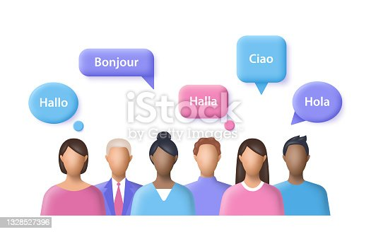 istock Mother language. People say the word hello in different international languages. 3d vector illustration. 1328527396