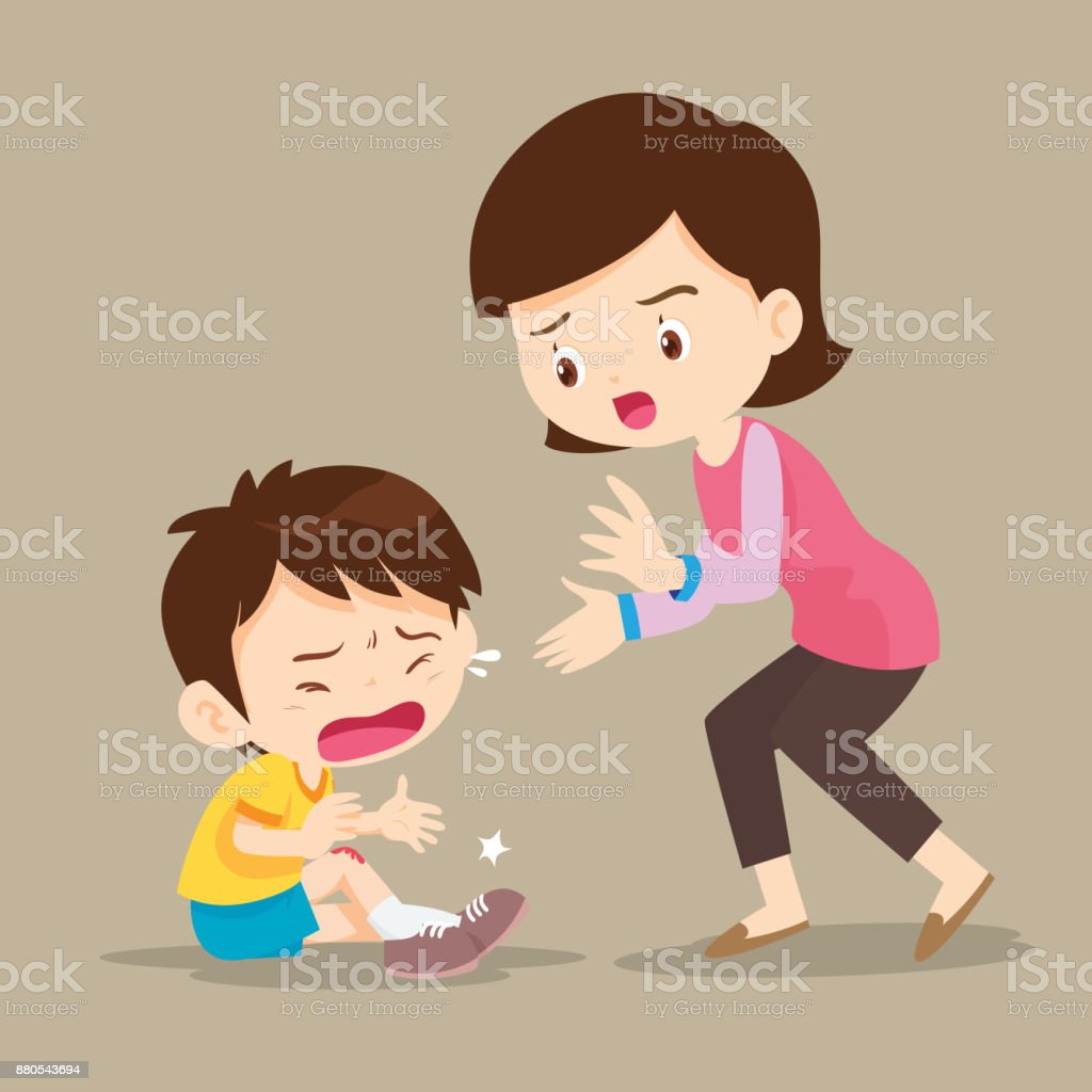 Mother looking at boy with wounds on his leg vector art illustration