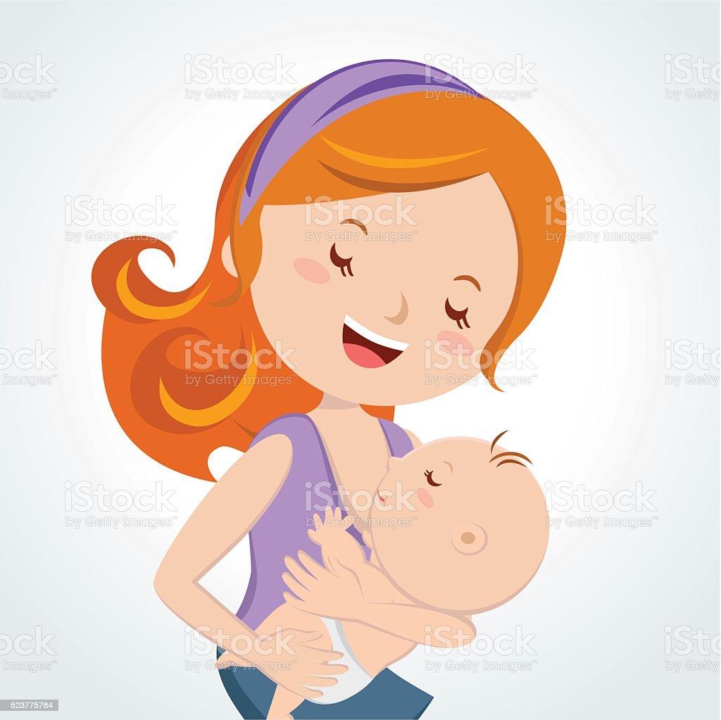 Mother love. Mother breastfeeding her baby. vector art illustration