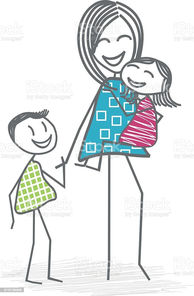 Mother or a nanny with children vector art illustration