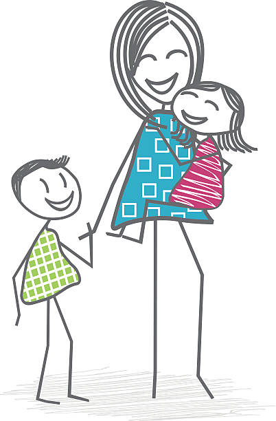 ilustraciones, imágenes clip art, dibujos animados e iconos de stock de mother or a nanny with children - niñera