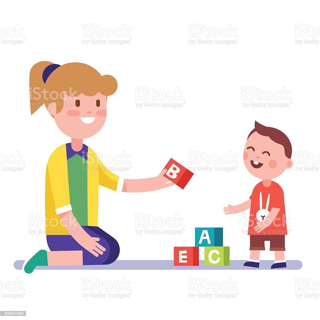 Mother or teacher teaching a child alphabet vector art illustration