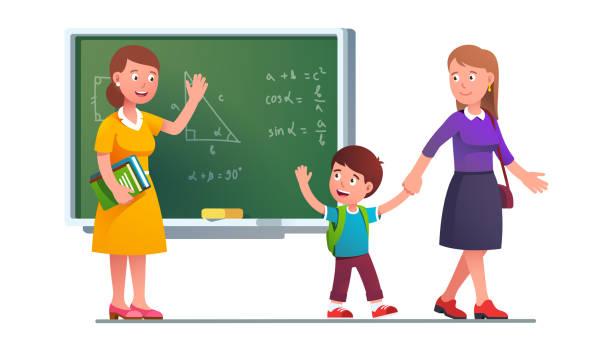 bildbanksillustrationer, clip art samt tecknat material och ikoner med mamma plockar upp pojke unge från skolklass - parent talking to child