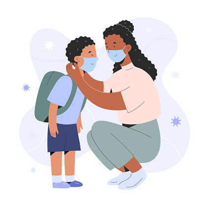Mother putting on face mask on her child boy for protection against coronavirus infection, cartoon realistic characters, covid prevention, parent showing how to put on a mask, vector illustration