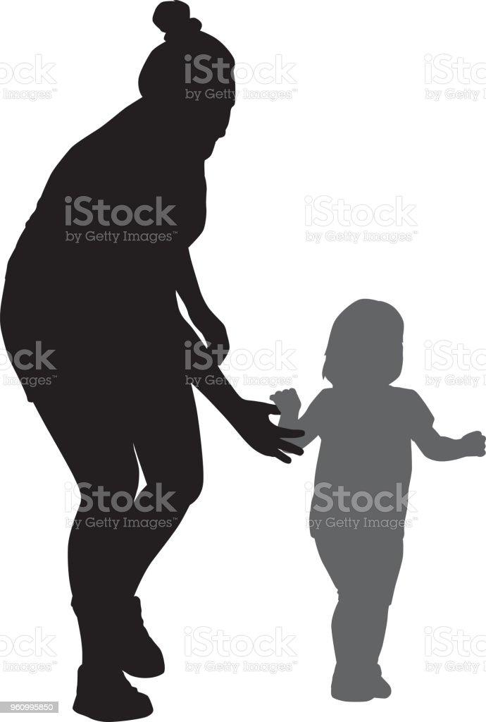 彼女の娘のシルエットに手を伸ばす母 2人のベクターアート素材や画像を