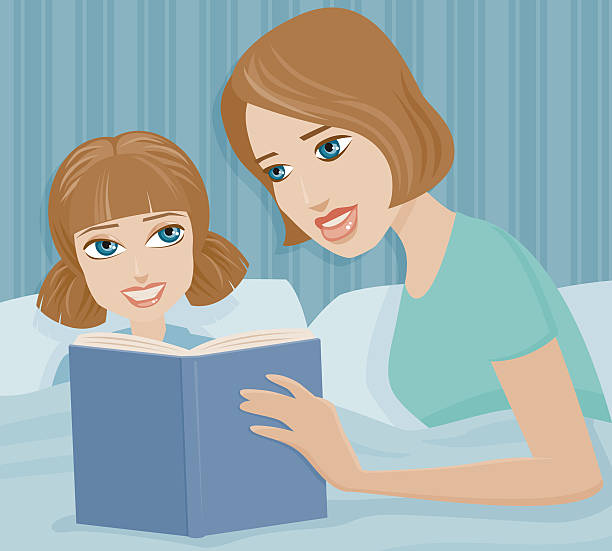 mother reading a bedtime story to her daughter - bedtime story stock illustrations