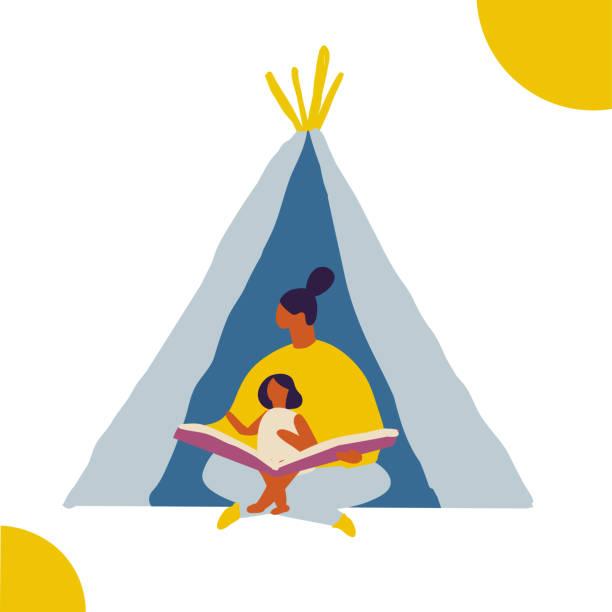 bildbanksillustrationer, clip art samt tecknat material och ikoner med mamma läser en bok för ett barn. människor tillbringar tid hemma platt vektor illustration. koppla av hemma, fritid - cosy pillows mother child