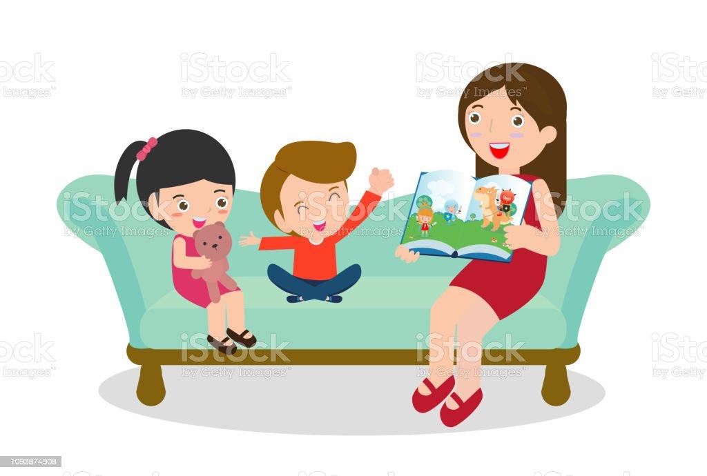 ilustración de madre leyendo a cuentos a su hijo e hija familia leer