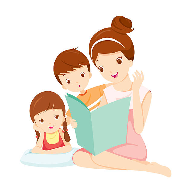 Best Mom Reading To Child Illustrations, Royalty-Free