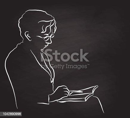 Older woman reading her book chalkboard illustration