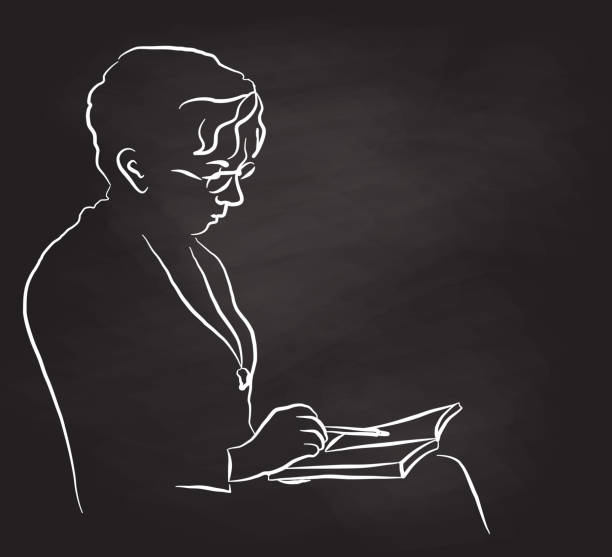 Mother Reading With Glasses Older woman reading her book chalkboard illustration book silhouettes stock illustrations