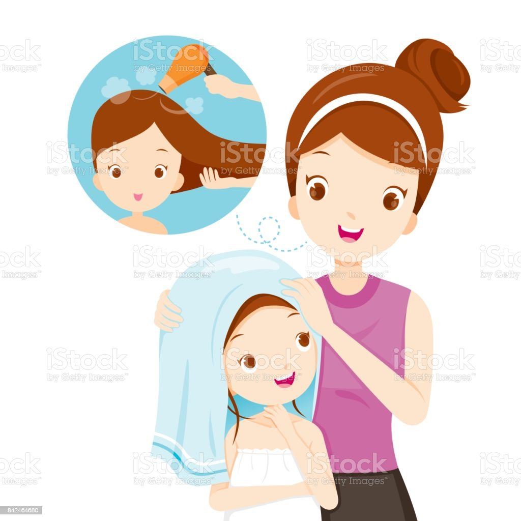 Mother Rub Daughter Hair With Towel vector art illustration