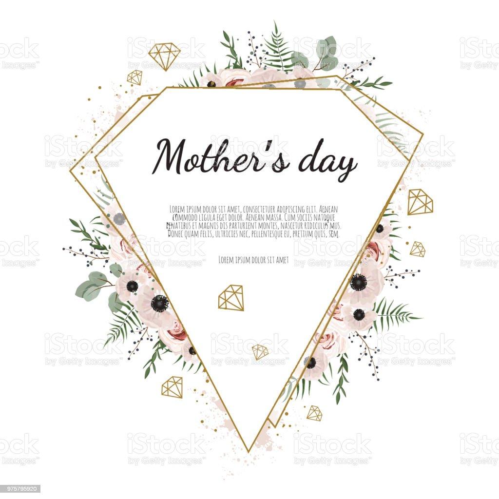 Mutter s Tag Grußkarte mit Blumen Hintergrund - Lizenzfrei Baumblüte Vektorgrafik