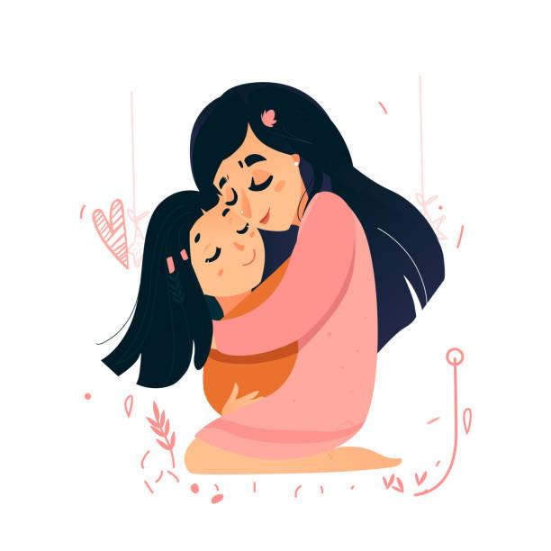 母の日のベクトル カード。ママ愛。母の日の甘いピンクの温かみのあるカード。トガンブワ ホールド娘。母性 - 娘点のイラスト素材/クリップアート素材/マンガ素材/アイコン素材