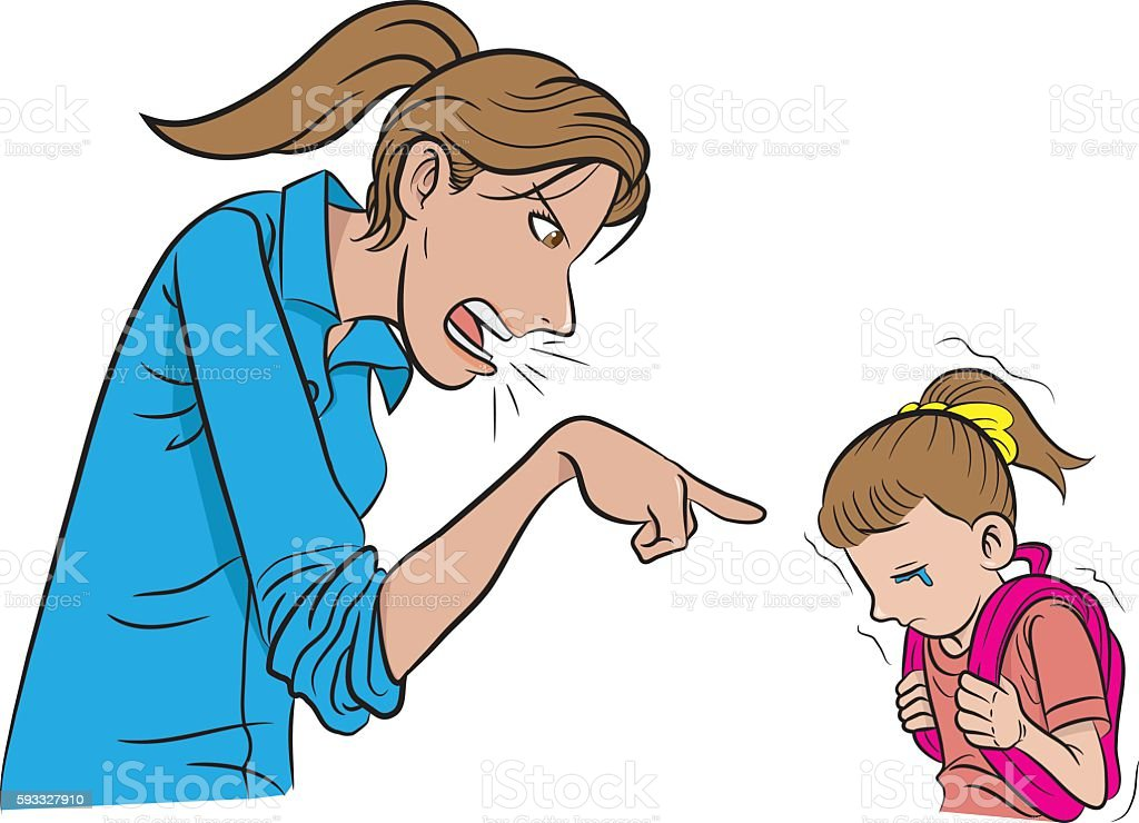 Mother scolding daughter vector art illustration