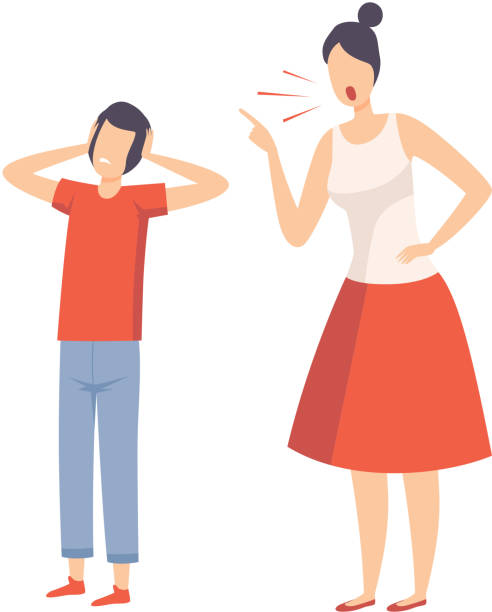 Mother Scolding Her Teenager Boy, Conflict with Parents Vector Illustration Mother Scolding Her Teenager Boy, Conflict with Parents Vector Illustration on White Background. punishment stock illustrations