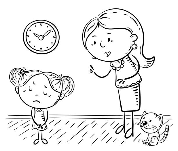 Mother scolding her upset daughter, coloring page vector art illustration