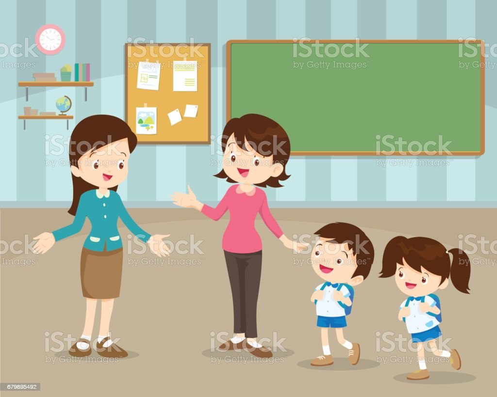 mother sending children to school vector art illustration