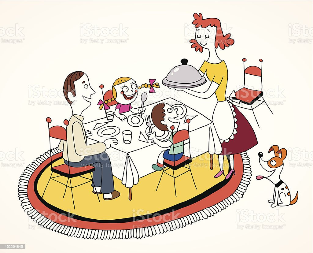 Mother serving food to her husband and 2 hungry children vector art illustration