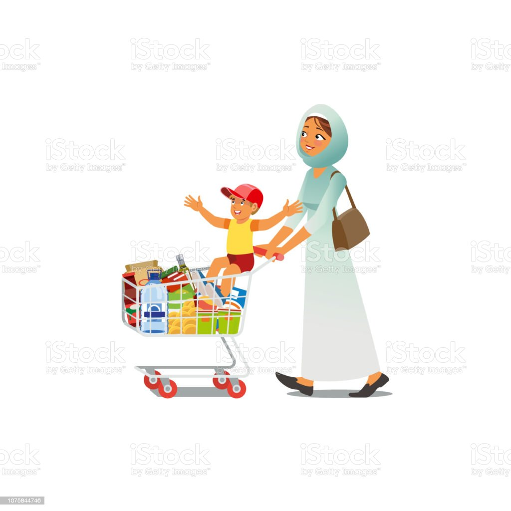 Mother Shopping with Little Son Cartoon Vector vector art illustration