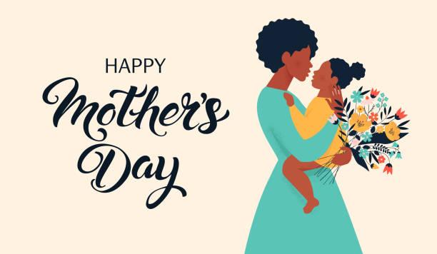 ilustraciones, imágenes clip art, dibujos animados e iconos de stock de silueta de madre con su bebé. tarjeta del feliz día de las madres. ilustración vectorial con hermosa mujer y niño. - hija