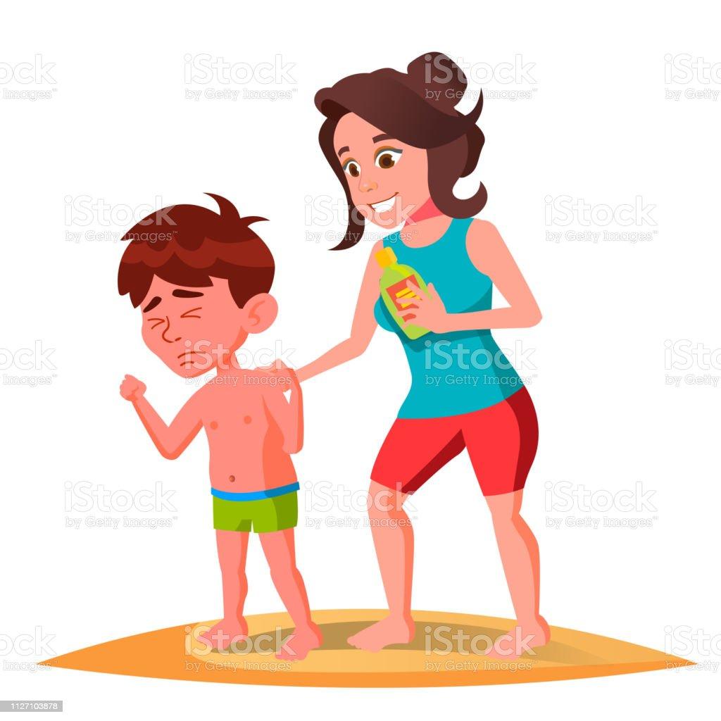 Mother Smears The Cream On The Back Of Sun-Burnt Kid In Swimming Trunks Vector. Isolated Illustration vector art illustration