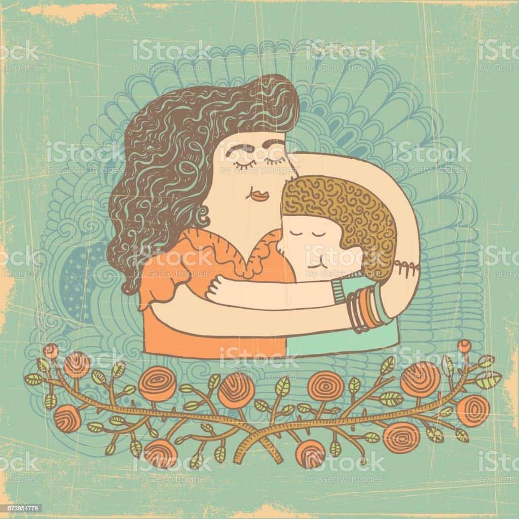 Étreinte de mère fils Étreinte de mère fils – cliparts vectoriels et plus d'images de adoption libre de droits