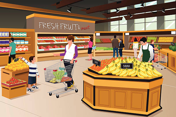 Mother Son Shopping in a Grocery Store A vector illustration of mother and her son shopping in a grocery store grocery aisle stock illustrations