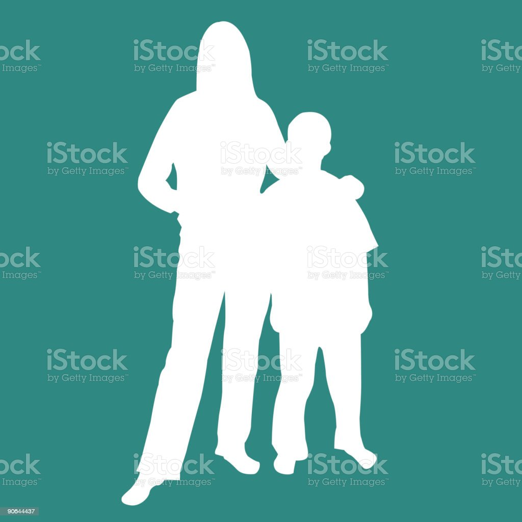 Mother Son Silhouette vector art illustration