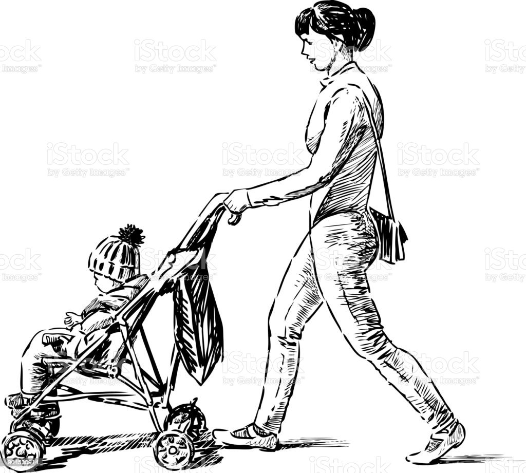 Mother strolls with her child vector art illustration